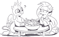 Size: 1408x885   Tagged: safe, artist:nauyaco, gallus, silverstream, classical hippogriff, fish, griffon, hippogriff, carrot, cute, female, food, gallabetes, gallstream, herbivore, herbivore vs omnivore, illogical, male, monochrome, omnivore, out of character, seafood, shipping, straight, sweat, sweatdrop, this will end in tears