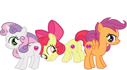 Size: 2549x1409 | Tagged: safe, artist:gmaplay, apple bloom, scootaloo, sweetie belle, earth pony, pegasus, pony, unicorn, bloom butt, booty mark crusaders, butt, cutie mark, cutie mark crusaders, plot, raised tail, scootabutt, simple background, sweetie butt, tail, the cmc's cutie marks, transparent background