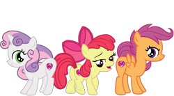Size: 2549x1409 | Tagged: safe, artist:gmaplay, apple bloom, scootaloo, sweetie belle, earth pony, pegasus, pony, unicorn, bedroom eyes, bloom butt, booty mark crusaders, butt, cutie mark, cutie mark crusaders, looking at you, plot, raised tail, scootabutt, simple background, sweetie butt, tail, the cmc's cutie marks, transparent background