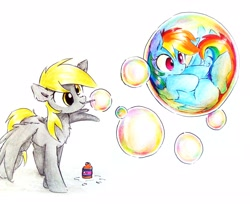 Size: 3213x2617 | Tagged: safe, artist:liaaqila, derpy hooves, rainbow dash, pegasus, pony, blowing bubbles, bubble, chest fluff, commission, confused, cute, dashabetes, derpabetes, duo, ear fluff, female, fluffy, frown, in bubble, leg fluff, mare, mouth hold, shrunken pupils, simple background, smiling, stuck, traditional art, white background, wide eyes, wing fluff