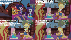 Size: 1280x720   Tagged: safe, edit, edited screencap, editor:quoterific, screencap, applejack, fluttershy, rarity, sci-twi, sunset shimmer, twilight sparkle, blizzard or bust, equestria girls, equestria girls series, holidays unwrapped, spoiler:eqg series (season 2), applejack's hat, belt, book, boots, bowtie, bracelet, clothes, cowboy boots, cowboy hat, cutie mark, cutie mark on clothes, denim skirt, eyes closed, geode of fauna, geode of shielding, geode of super strength, geode of telekinesis, glasses, hairpin, hat, jacket, jewelry, leather, leather jacket, magical geodes, necklace, open mouth, ponytail, rarity peplum dress, sandals, shoes, skirt