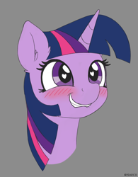 Size: 2008x2573 | Tagged: safe, artist:irisarco, twilight sparkle, pony, unicorn, blushing, cute, ear fluff, female, gray background, grin, happy, heart eyes, horn, lip bite, simple background, sketch, smiling, solo, twiabetes, watermark, wingding eyes