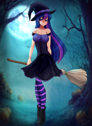 Size: 4641x6292 | Tagged: safe, artist:megabait, twilight sparkle, human, absurd resolution, bare shoulders, broom, clothes, corset, dress, female, full moon, halloween, hat, holiday, humanized, mare in the moon, moon, pumpkin, socks, solo, striped socks, witch, witch hat
