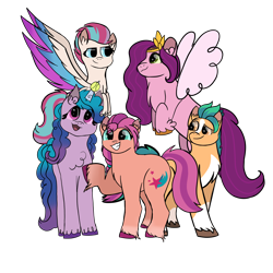 Size: 4096x4096 | Tagged: safe, artist:birbnerd17, hitch trailblazer, izzy moonbow, pipp petals, sunny starscout, zipp storm, earth pony, pegasus, pony, unicorn, g5, absurd resolution, ball, blaze (coat marking), chest fluff, coat markings, colored wings, ear fluff, facial markings, female, flying, hoof fluff, horn, horn guard, horn impalement, hornball, izzy's tennis ball, looking at each other, male, mane five (g5), mare, multicolored wings, open mouth, pale belly, raised hoof, simple background, smiling, socks (coat markings), stallion, tennis ball, transparent background, unshorn fetlocks, wings