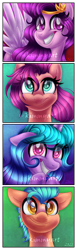 Size: 1752x5652   Tagged: safe, artist:kimmyartmlp, hitch trailblazer, izzy moonbow, pipp petals, sunny starscout, earth pony, pegasus, pony, unicorn, g5, adorapipp, blaze (coat marking), coat markings, colored pupils, cute, eyelashes, facial markings, female, floppy ears, grin, hitchbetes, izzybetes, looking at you, male, mare, nervous, pale belly, smiling, stallion, sunnybetes, teeth, watermark, wings