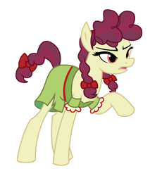 Size: 2345x2746 | Tagged: safe, artist:three uncle, hilly hooffield, earth pony, pony, the hooffields and mccolts, background pony, bow, clothes, female, hair bow, hooffield family, mare, pigtails, pose, simple background, solo, vector