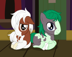 Size: 2612x2092 | Tagged: safe, artist:badumsquish, derpibooru exclusive, oc, oc only, oc:mossy rock, oc:snow shoes, clydesdale, earth pony, pony, badumsquish is trying to murder us, brothers, colt, cute, duo, duo male, earth pony oc, high res, interspecies offspring, looking at you, lying down, male, ocbetes, offspring, parent:trouble shoes, parent:wallflower blush, parents:troubleblush, ponyloaf, show accurate, shy, siblings, smiling, two-tone coat, wagon