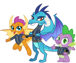 Size: 5872x4873   Tagged: safe, artist:andoanimalia, artist:ponygamer2020, princess ember, smolder, spike, dragon, fallout equestria, school daze, triple threat, absurd resolution, claws, clothes, crossed arms, cute, dragon wings, dragoness, dragons wearing clothes, fallout, female, flying, happy, horns, jumpsuit, looking at you, male, open mouth, pipboy, simple background, smiling, smiling at you, smolderbetes, teenaged dragon, teeth, transparent background, trio, vault suit, vector, waving, waving at you, wings