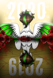 Size: 1080x1596 | Tagged: safe, artist:jvartes6112, oc, oc only, oc:jv6112, alicorn, pony, 2019, 2020, alicorn oc, bust, duality, flower, horn, male, rose, spread wings, stallion, two toned wings, wings