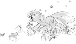 Size: 850x494 | Tagged: safe, artist:alloyrabbit, cheerilee, earth pony, pony, crushing, destruction, female, giant pony, giantess, houses, macro, mare, monochrome, running, unaware