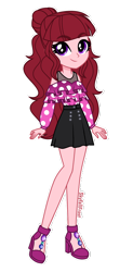 Size: 1096x2222   Tagged: safe, artist:skyfallfrost, oc, equestria girls, clothes, shirt, simple background, skirt, solo, transparent background