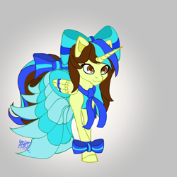 Size: 3000x3000   Tagged: safe, artist:umbrapone, oc, oc only, oc:epsi, alicorn, pony, bow, bow on leg, clothes, dress, ethanepsc4, female, gradient background, high res, hooves, mane bow, mare, solo, stripes, tail bow