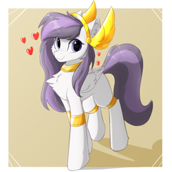 Size: 1024x1024   Tagged: safe, artist:d.w.h.cn, oc, oc only, oc:athena (shawn keller), pegasus, pony, chest fluff, cute, ear fluff, female, guardians of pondonia, heart, looking at you, mare, ocbetes, pegasus oc, smiling, solo