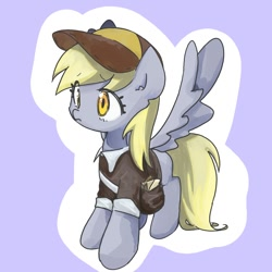Size: 1200x1200   Tagged: safe, artist:770nanao15, derpy hooves, pegasus, pony, cute, derpabetes, female, letter, mailmare, mailmare uniform, mare, satchel, solo, spread wings, wings