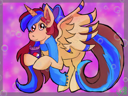 Size: 1600x1200   Tagged: safe, oc, oc only, oc:epsi, alicorn, pony, bow, clothes, cute, ethanepsc4, female, looking at you, mare, pepsi, scarf, soda, solo