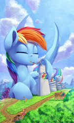 Size: 1514x2500 | Tagged: safe, artist:tsitra360, applejack, big macintosh, rainbow dash, earth pony, pegasus, pony, apple, cute, dashabetes, drinking, eyes closed, factory, food, giant pony, lying down, macro, prone, size difference, sweet apple acres, underhoof, zap apple