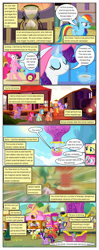 Size: 612x1552 | Tagged: safe, artist:newbiespud, edit, edited screencap, screencap, big macintosh, cerise sunrise, chelsea porcelain, derpy hooves, dizzy twister, doctor whooves, fluttershy, geri, granny smith, high note, mr. waddle, orange swirl, pinkie pie, rainbow dash, rarity, sea swirl, seafoam, spike, steamer, time turner, twilight sparkle, dragon, earth pony, pegasus, pony, unicorn, comic:friendship is dragons, it's about time, the cutie re-mark, bipedal, comic, dialogue, eyelashes, eyes closed, female, glowing horn, hat, horn, hot air balloon, hourglass, intro, magic, male, mare, outdoors, party cannon, royal guard, screencap comic, stallion, sun hat, telekinesis, train, unicorn twilight, wings