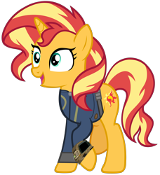 Size: 6348x6963 | Tagged: safe, artist:andoanimalia, artist:ponygamer2020, sunset shimmer, pony, unicorn, fallout equestria, equestria girls, equestria girls series, forgotten friendship, absurd resolution, clothes, fallout, female, jumpsuit, mare, pipboy, simple background, smiling, solo, transparent background, vault suit, vector