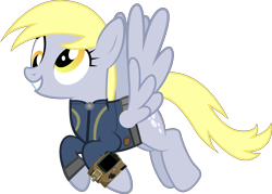 Size: 10459x7507 | Tagged: safe, artist:ponygamer2020, artist:silentmatten, edit, edited screencap, screencap, derpy hooves, pegasus, pony, fallout equestria, absurd resolution, clothes, fallout, female, flying, grin, jumpsuit, not a vector, pipboy, simple background, smiling, solo, transparent background, vault suit, vector
