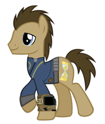 Size: 900x1064 | Tagged: safe, artist:misterlolrus, artist:ponygamer2020, edit, edited screencap, screencap, doctor whooves, time turner, earth pony, pony, fallout equestria, clothes, fallout, jumpsuit, male, not a vector, pipboy, simple background, solo, stallion, transparent background, vault suit, vector, walking