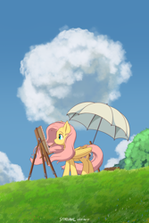 Size: 1600x2400 | Tagged: safe, alternate version, artist:symbianl, fluttershy, pegasus, pony, canvas, cloud, crossover, easel, female, folded wings, looking at something, mare, mouth hold, movie poster, outdoors, paintbrush, painting, parody, poster parody, profile, solo, standing, studio ghibli, the wind rises, umbrella, windswept mane, wings