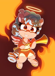 https://derpicdn.net/img/view/2021/5/3/2606408__safe_artist-colon-pabbley_cozy+glow_pegasus_pony_clothes_dress_ear+fluff_ears_fangs_female_filly_fire_flying_freckles_grin_halo_holding_musical+instrum.jpg