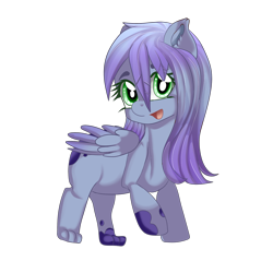 Size: 2000x2000   Tagged: safe, artist:sakimiaji, oc, oc only, oc:jenny feathers, griffon, hybrid, pegasus, chibi, cute, feather, female, happy, mare, original art, request, requested art, simple background, smol, solo, tiny, transparent background, wings