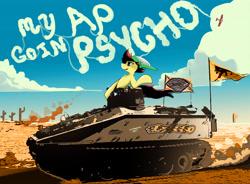 Size: 5763x4236 | Tagged: safe, artist:fiyawerks, oc, oc:fiya, pony, cloud, desert, flag, lyrics, plane, post malone, psycho, solo, song reference, tank (vehicle), text