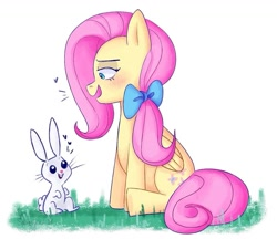 Size: 1107x957   Tagged: safe, artist:saltysel, angel bunny, fluttershy, pegasus, pony, rabbit, animal, blushing, bow, duo, female, grass, hair bow, mare, simple background, sitting, smiling, white background, wings