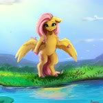 Size: 4000x4000 | Tagged: safe, artist:miokomata, fluttershy, pegasus, pony, semi-anthro, absurd resolution, colored hooves, cute, female, floppy ears, freckles, freckleshy, looking at you, mare, miokomata is trying to murder us, shyabetes, smiling, solo