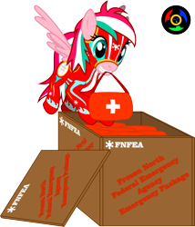 Size: 2599x3036 | Tagged: safe, artist:kyoshyu, oc, oc:shuri cane, pegasus, pony, clothes, crate, female, first aid kit, flight suit, high res, mare, mouth hold, simple background, solo, transparent background, vector