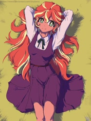Size: 967x1290   Tagged: safe, artist:tinybenz, sunset shimmer, equestria girls, arm behind head, clothes, cute, dress, female, shimmerbetes, smiling, solo