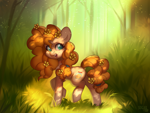 Size: 4000x3000 | Tagged: safe, artist:sugarstar, pear butter, earth pony, pony, bush, cute, female, flower, flower in hair, forest, high res, mare, open mouth, open smile, outdoors, pearabetes, raised hoof, rcf community, smiling, solo, tree