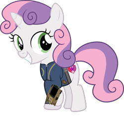 Size: 3214x3000 | Tagged: safe, artist:dashiesparkle, artist:ponygamer2020, sweetie belle, pony, unicorn, fallout equestria, clothes, cute, cutie mark, diasweetes, fallout, female, filly, high res, jumpsuit, looking back, pipboy, simple background, smiling, solo, the cmc's cutie marks, transparent background, vault suit, vector