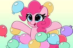 Size: 4096x2710 | Tagged: safe, artist:kittyrosie, pinkie pie, earth pony, pony, balloon, blushing, cute, diapinkes, digital art, doodle, female, happy, high res, mare, open mouth, party balloon, smiling, solo