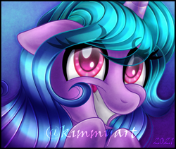 Size: 1636x1382 | Tagged: safe, artist:kimmyartmlp, edit, izzy moonbow, pony, unicorn, g5, bust, cropped, cute, eyelashes, female, floppy ears, gradient background, grin, izzybetes, looking at you, mare, nervous, portrait, smiling, solo, teeth, watermark