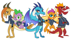 Size: 5360x3008   Tagged: safe, artist:andoanimalia, artist:ponygamer2020, artist:thesharp0ne, artist:tomfraggle, garble, ocellus, princess ember, smolder, spike, changedling, changeling, dragon, fallout equestria, dragon quest, school daze, triple threat, absurd resolution, blushing, claws, clothes, crossed arms, cute, diaocelles, disguise, disguised changeling, dragon ocellus, dragon wings, dragoness, dragons wearing clothes, fallout, female, flying, group, happy, horns, jumpsuit, looking at you, male, open mouth, pipboy, shy, simple background, smiling, smiling at you, smolderbetes, spread wings, teenaged dragon, teeth, transparent background, vault suit, vector, waving, waving at you, winged spike, wings