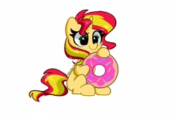 Size: 4096x2672   Tagged: safe, artist:kittyrosie, sunset shimmer, pony, unicorn, equestria girls, blushing, cute, donut, doodle, female, food, high res, mare, shimmerbetes, simple background, solo, white background