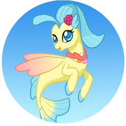 Size: 814x810 | Tagged: safe, artist:cardcaptorkatara, princess skystar, seapony (g4), my little pony: the movie, blue background, blue eyes, blue mane, dorsal fin, female, fins, fish tail, flower, flower in hair, jewelry, looking at you, necklace, open mouth, pearl necklace, simple background, smiling, solo, tail, wings