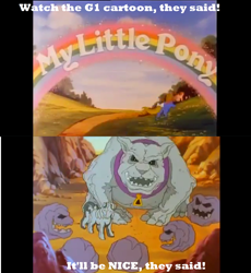 Size: 1920x2083   Tagged: safe, edit, edited screencap, screencap, crunch (character), gusty, pony, rockdog, crunch the rockdog, g1, my little pony 'n friends, cursed image, meme, minion, nightmare fuel, petrification, you know for kids
