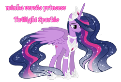 Size: 1596x1080 | Tagged: safe, artist:jvartes6112, twilight sparkle, alicorn, pony, the last problem, ethereal mane, female, hoof shoes, horn, jewelry, mare, older, older twilight, peytral, portuguese, princess twilight 2.0, simple background, smiling, solo, starry mane, tiara, transparent background, twilight sparkle (alicorn), wings