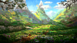 Size: 1280x720 | Tagged: safe, artist:plainoasis, applejack, earth pony, pony, canterlot, cart, female, friendship express, mare, mountain, ponyville, scenery, scenery focus, scenery porn, solo, train, valley
