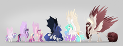 Size: 6000x2250 | Tagged: safe, artist:dementra369, princess cadance, princess celestia, princess flurry heart, princess luna, twilight sparkle, oc, oc:fausticorn, alicorn, pony, blaze (coat marking), cloven hooves, coat markings, colored hooves, curved horn, cute, cute little fangs, ethereal mane, facial markings, fangs, four wings, halo, horn, hybrid wings, large wings, leonine tail, looking at each other, multiple horns, multiple wings, pale belly, raised hoof, simple background, sisters-in-law, snip (coat marking), socks (coat markings), spread wings, starry mane, two toned wings, unshorn fetlocks, wings