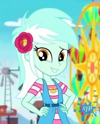 Size: 850x1050   Tagged: safe, artist:rjp.rammy, lyra heartstrings, equestria girls, clothes, cute, female, flower, flower in hair, hands on hip, looking at you, lyrabetes, smiling, solo
