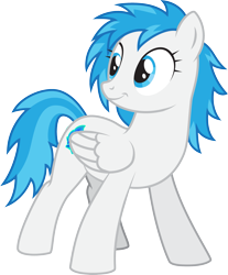 Size: 2107x2547   Tagged: safe, artist:lightning stripe, derpibooru exclusive, oc, oc:snow fury, pegasus, pony, 2017, blue, blue eyes, blue hair, blue mane, cutie mark, female, mare, request, requested art, show accurate, simple background, solo, transparent background, white, white coat, wings