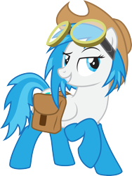 Size: 2120x2814   Tagged: safe, artist:lightning stripe, derpibooru exclusive, edit, oc, oc:snow fury, pegasus, pony, legends of equestria, 2018, bag, blue, blue eyes, blue hair, blue mane, clothes, cutie mark, female, goggles, hat, mare, request, requested art, saddle bag, show accurate, simple background, socks, solo, transparent background, vector, white, white coat, wings