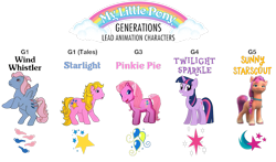 Size: 1681x989 | Tagged: safe, artist:politicsponi, pinkie pie (g3), starlight (g1), sunny starscout, twilight sparkle, wind whistler, earth pony, pegasus, pony, unicorn, g1, g3, g4, g5, my little pony tales, bipedal, cutie mark, female, looking at you, my little pony logo, simple background, smiling, transparent background