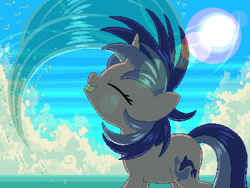 Size: 800x600   Tagged: safe, artist:rangelost, sea swirl, seafoam, pony, unicorn, cyoa:d20 pony, background pony, cloud, eyes closed, female, lens flare, mane flip, mare, ocean, outdoors, pixel art, sky, solo, standing, sun, wet, wet mane