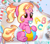 Size: 1729x1507 | Tagged: safe, artist:rolexwatch31, luster dawn, pony, unicorn, the last problem, aura, awww, baby, baby luster dawn, ball, cute, diaper, eyebrows, eyebrows visible through hair, female, floating eyebrows, glowing horn, hair, horn, letter, levitation, magic, magic aura, multicolored hair, orange eyes, pacifier, pink body, ponytail, sitting, smiling, solo, telekinesis, underhoof, watermark, young, younger