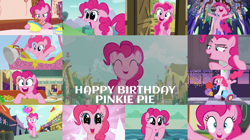 Size: 1280x718 | Tagged: safe, edit, edited screencap, editor:quoterific, screencap, pinkie pie, earth pony, pony, a friend in deed, fall weather friends, father knows beast, inspiration manifestation, make new friends but keep discord, molt down, pinkie apple pie, she's all yak, sweet and elite, the crystalling, the mane attraction, the saddle row review, the ticket master, ^^, balloon, bipedal, bowl, breaking the fourth wall, confetti, cute, diapinkes, eyes closed, female, floppy ears, happy birthday, hot air balloon, looking at you, male, mare, nose in the air, open mouth, party cannon, pinkie being pinkie, pinkie pie day, pinkie pie's birthday, smile song, smiling, solo, spoon, stallion, sugarcube corner, sweet apple acres, trotting, twilight's castle, twinkling balloon, volumetric mouth